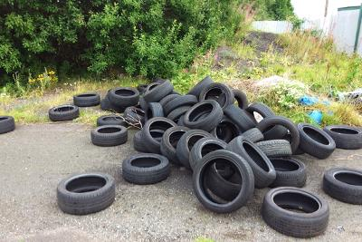 A group of tyres tipped at Pelaw