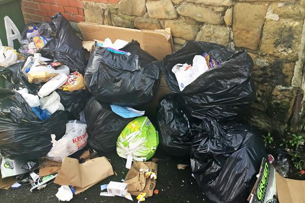 fly tipped rubbish in Richmond terrace