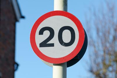 Speed limit sign saying 20