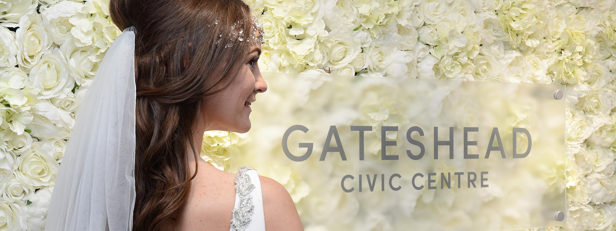Gateshead flower wall with bride