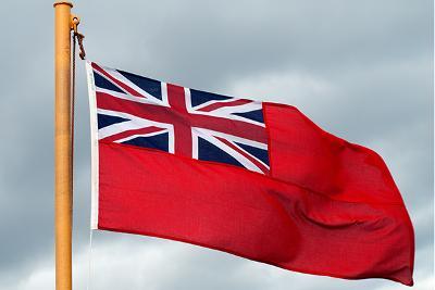Merchant navy flag flying