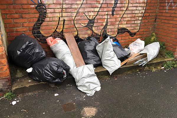 Fly tipped rubbish in Brinkburn Ave back lane