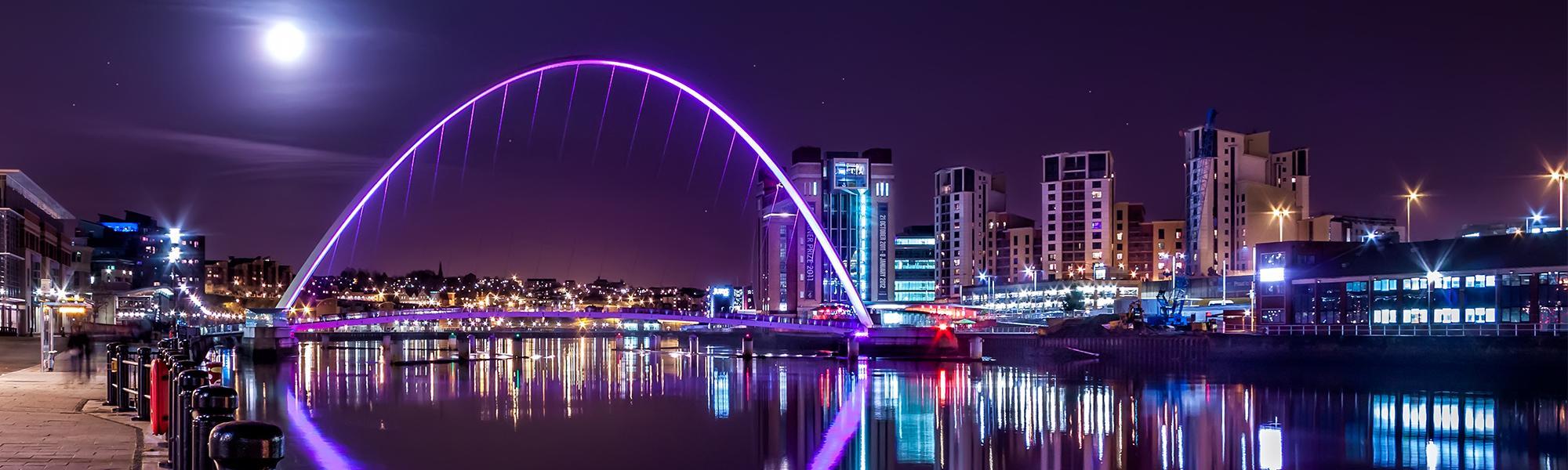Gateshead Millennium Bridge header - purple