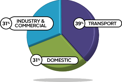 Pie chart showing industry, transport and domestic emissions