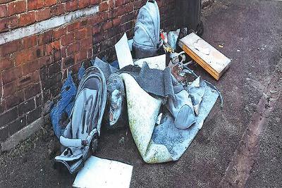 rubbish dumped in back lane