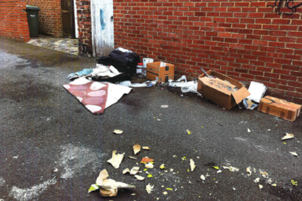 Fly tipping in rear lane between Brinkburn Avenue and Eastbourne Avenue