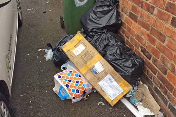 waste left dumped in lane