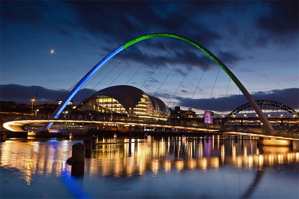 Gateshead Millennium Bridge blue and green