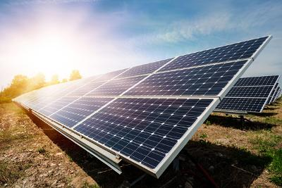image of solar farm and sunlight