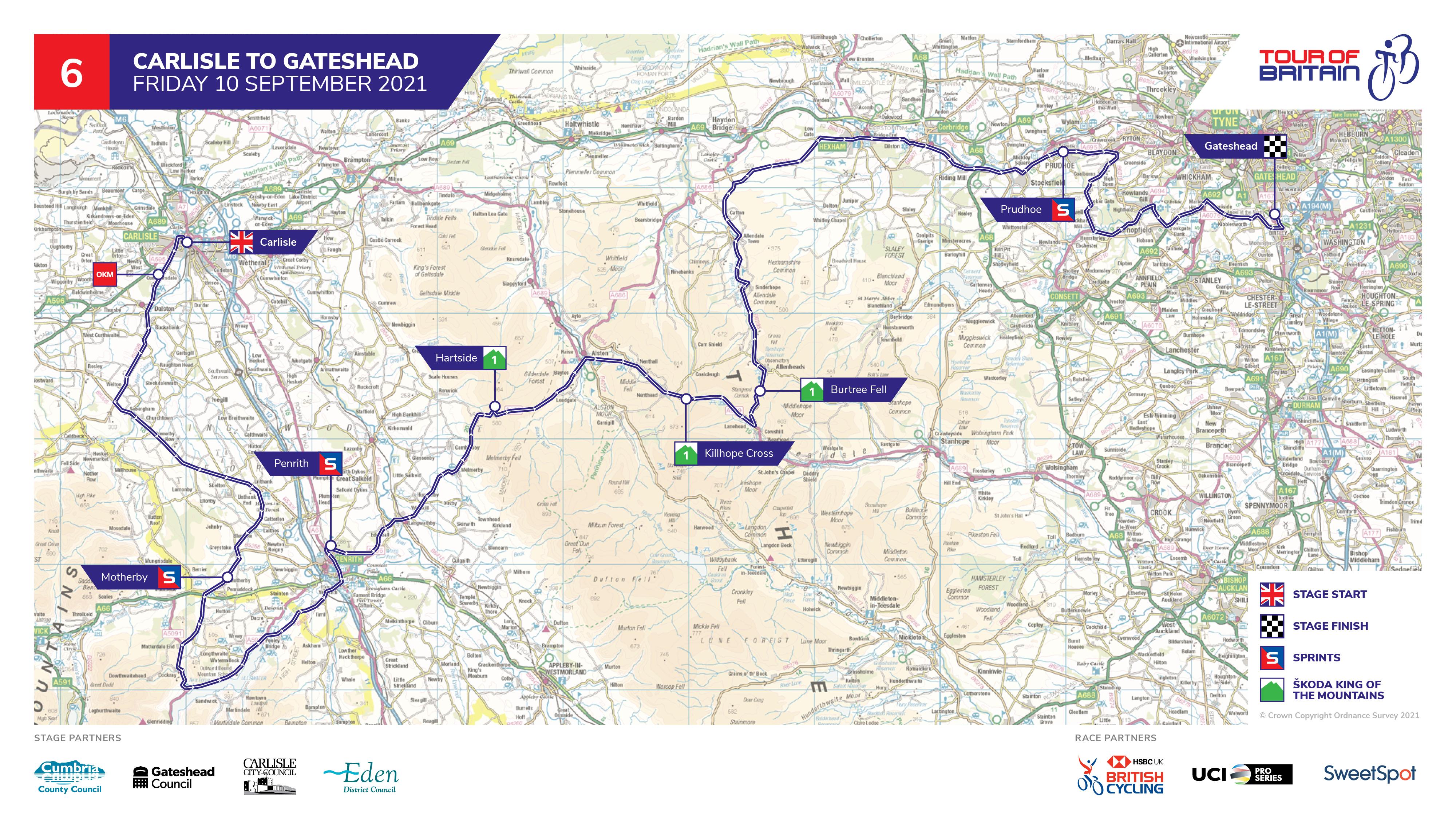 Tour of Britain 2021 Carlisle to Gateshead route