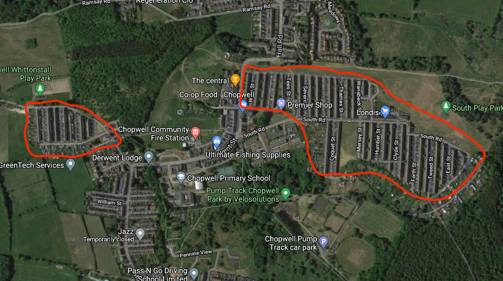 Map of solid wall homes in Chopwell