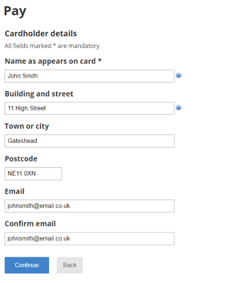 Cardholder details screenshot