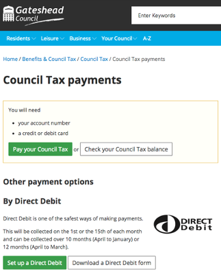 Council Tax payments landing page screenshot