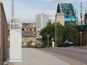 Bottle Bank in Gateshead with an air quality monitor on the left