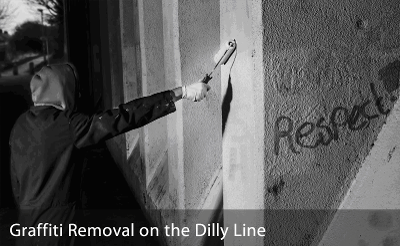 Graffiti removal on the Dilly Line