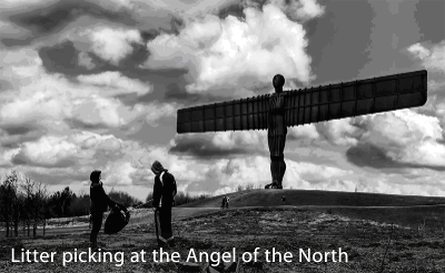 Litter picking at the Angel of the North