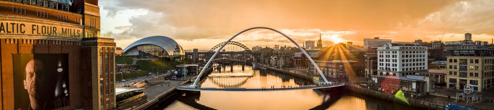Gateshead Millennium Bridge aerial