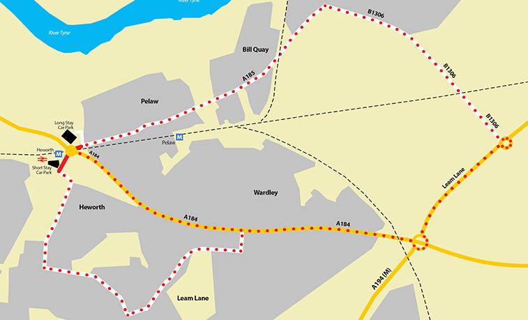 Heworth Roundabout roadworks alternative routes map